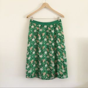 Old Navy Green Floral Pleated Chiffon Midi Skirt